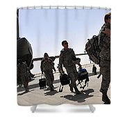 Airmen Arrive In Iraq In Support Shower Curtain