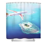 Airplane Flying Over Maldives Islands On Indian Ocean. Travel Shower Curtain