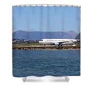 airplane on airport Corfu island Greece Shower Curtain