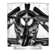 Airplane Propeller And Engine Navy Bw Shower Curtain