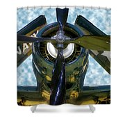 Airplane Propeller And Engine Navy Shower Curtain