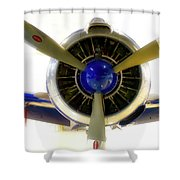 Airplane Propeller And Engine T28 Trojan 01 Shower Curtain