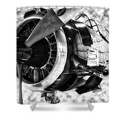 Airplane Propeller And Engine T28 Trojan 02 Bw Shower Curtain