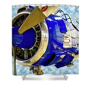Airplane Propeller And Engine T28 Trojan 02 Shower Curtain