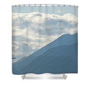Airplane Taking Off Over The Alpine Mountains Shower Curtain