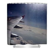 Airplane Wing In Clouds Shower Curtain