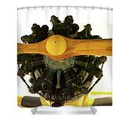 Airplane Wooden Propeller And Engine Timm N2t-1 Tutor Shower Curtain
