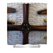 Airplane Wooden Propellers 01 Shower Curtain