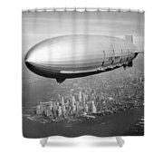 Airship Flying Over New York City Shower Curtain