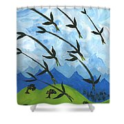Airy Eight Of Wands Illustrated Shower Curtain