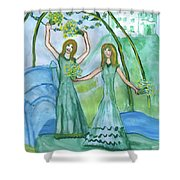 Airy Four Of Wands Illustrated Shower Curtain