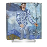 Airy King Of Wands Shower Curtain