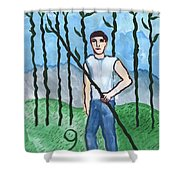 Airy Nine Of Wands Illustrated Shower Curtain