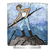 Airy Seven Of Wands Illustrated Shower Curtain