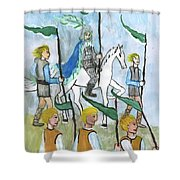 Airy Six Of Wands Illustrated Shower Curtain