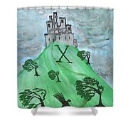 Airy Ten Of Wands Illustrated Shower Curtain