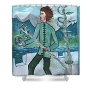 Airy Two Of Wands Illustrated Shower Curtain