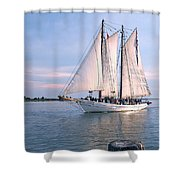 Aj Meerwald Sailing Up River Shower Curtain