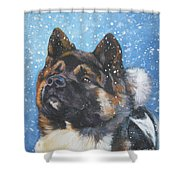 Akita In Snow Shower Curtain