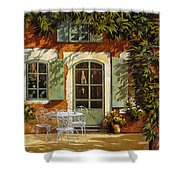 Al Fresco In Cortile Shower Curtain by Guido Borelli