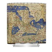 Al Idrisi World Map 1154 Shower Curtain by SPL and Photo Researchers