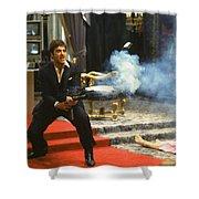 Al Pacino As Tony Montana With Machine Gun Blasting His  Fellow Bad Guys Scarface 1983 Shower Curtain