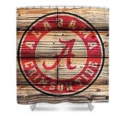Alabama Crimson Tide Logo On Rustic Wood Shower Curtain
