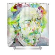 Alan Watts - Watercolor Portrait.3 Shower Curtain