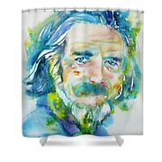 Alan Watts - Watercolor Portrait.4 Shower Curtain