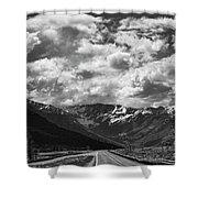 Alaska Bw On The Road  Shower Curtain