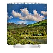 Alaska Digital Paint Shower Curtain