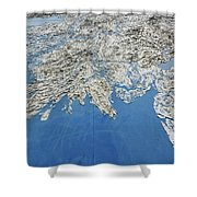 Alaska Map Wall Art Shower Curtain