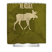 Alaska State Facts Minimalist Movie Poster Art Shower Curtain