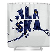 Alaska Typography Map Flag Shower Curtain