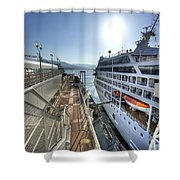Alaskan Cruise Ship Berthed In Vancouver Shower Curtain