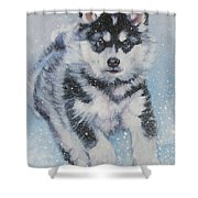 alaskan Malamute pup in snow Shower Curtain