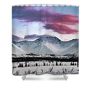 Alaskan Range At Sunset Shower Curtain