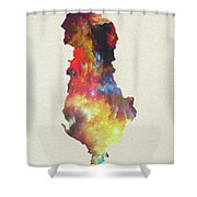 Albania Watercolor Map Shower Curtain