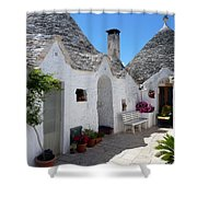 Alberobello Courtyard With Trulli Shower Curtain