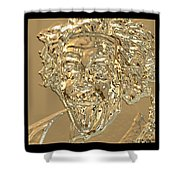 Albert Sticks Out His Tongue 24 Kt Gold 4  Shower Curtain