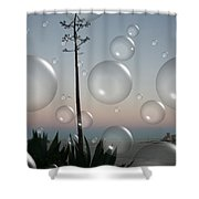 Alca Bubbles Shower Curtain by Holly Ethan