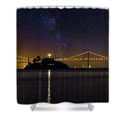 Alcatraz Island Under The Starry Night Sky Shower Curtain