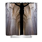 Alcobaca Monastery Church Crucifix Shower Curtain