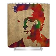 Alden Ehrenreich Watercolor Portrait Shower Curtain