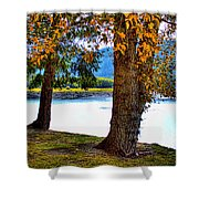 Alder Lake In The Fall Shower Curtain