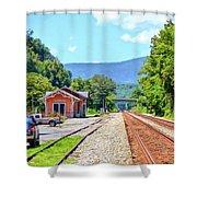 Alderson Train Depot And Tracks Alderson West Virginia Shower Curtain