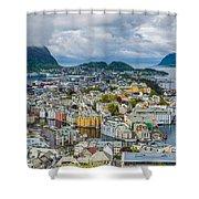 Alesund Norway Cityscape Shower Curtain