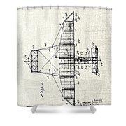 Alexander Graham Bell Airplane Patent Print, Plane Patent Blueprint Shower Curtain