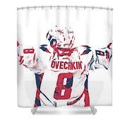Alexander Ovechkin Washington Capitals Pixel Art 9 Shower Curtain