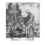 Alexander The Great Kneeling Before The High Priest Of Ammon Shower Curtain
